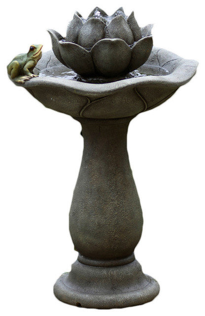 Jeco Inc Lotus Flower And Frog Tiers Water Fountain Traditional
