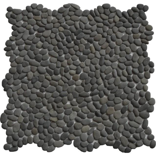 Mini Polished Black Pebble Tile 1 sq.ft