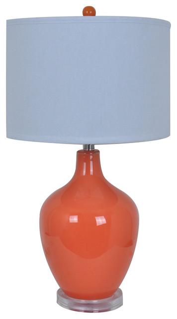 Avery Orange Glass Table Lamp Acrylic Base 27 Tall 15 Dia White