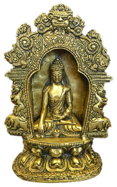 Brass Stone Worked Resting Buddha Sculpture Statue Tibet Figurine Yoga Idol Gift