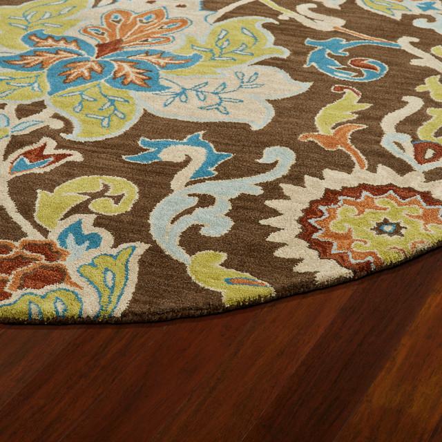 Larissa Hand-Tufted Wool Round Rug, Brown, 5&x27;9x5&x27;9.