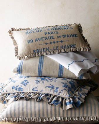 French Laundry Home Bird Bed Linens French Words Oblong Pillow