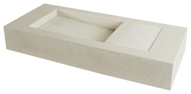 Mini Flor Concrete Bathroom Sink, White.