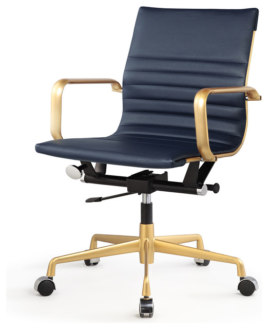 Amy Vegan Leather Office Chair Navy And Gold Contemporary Office Chairs