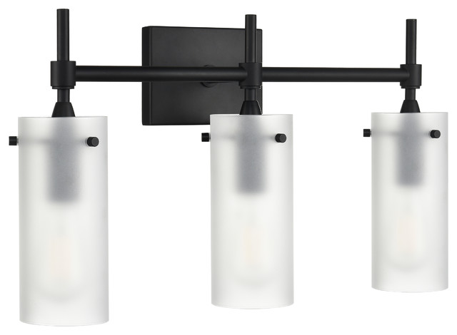 Effimero 3-Light Wall Sconce, Black With Frosted Glass