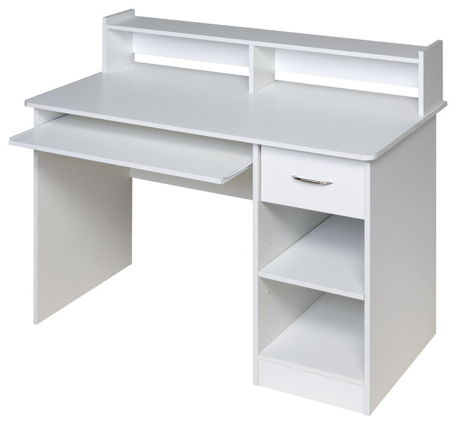 Essential Computer Desk Hutch Pull Out Keyboard White