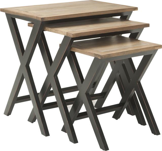 Safavieh Jack Black, Oak Wood Color Tray Tables, Amh6572a.