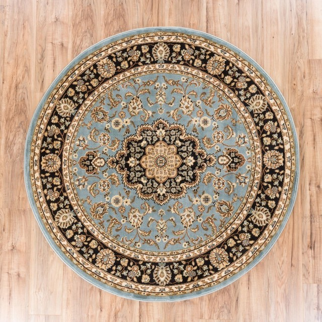 Well Woven Barclay Medallion Kashan Traditional Light Blue Round Rug 3&x27;11 Round.