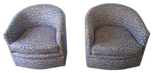 Recovered 70u0027s Vintage Swivel Chairs   A Pair