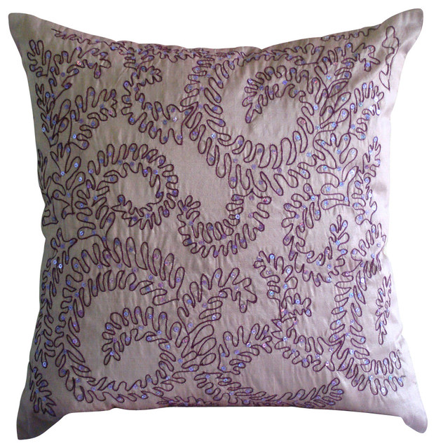 "Luxury Sequins Purple Shams, Art Silk 24""x24"" Pillow Sham, Purple Ivy."