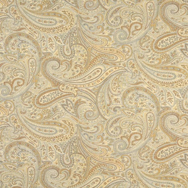Gold Blue And Bronze Paisley Contemporary Upholstery Grade Fabric By