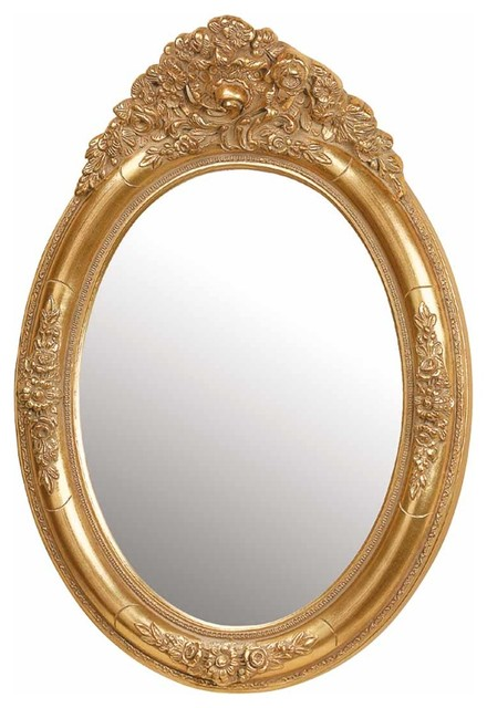 antique vanity mirror gold oval wood frame traditional wall mirrors