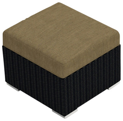 Urbana Patio Modern Wicker Ottoman, Heather Beige Cushions Contemporary  Outdoor Footstools And