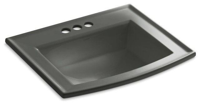 Kohler Archer Self-Rimming Lavatory With 4 Centers, Thunder Gray.