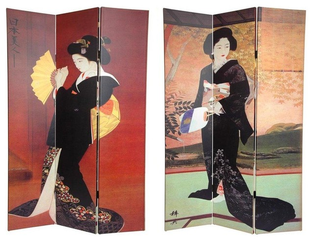 6 ft Tall Double Sided Japanese Ladies Canvas Room Divider