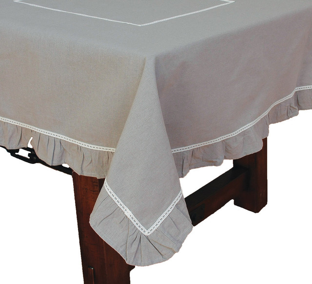 Ruffle Trim Taupe With White Lace Tablecloth, ...