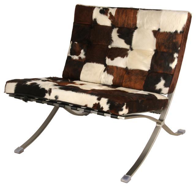 Barca Cowhide Accent Chair, Brown, White, Black
