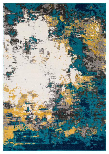 Pepin Modern Aqua, Bright Blue Area Rug, 5&x27;3x7&x27;6.