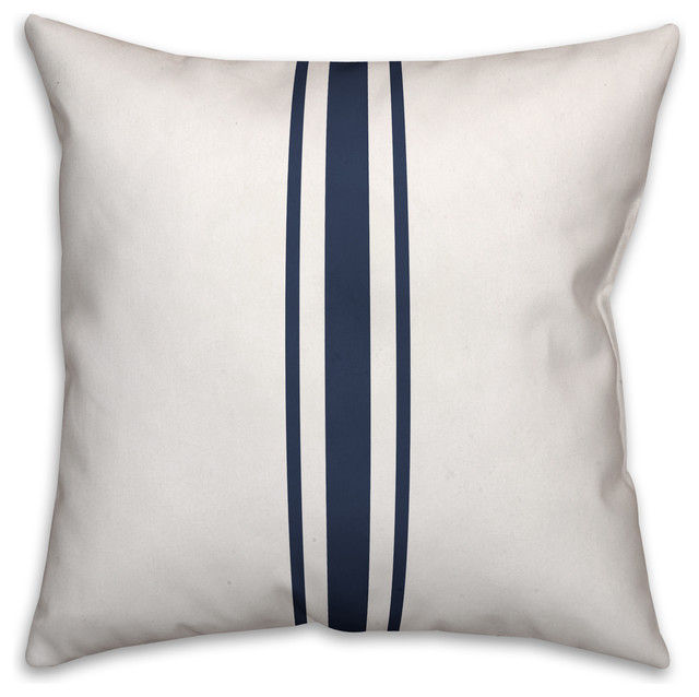 Navy Blue Flour Sack Stripes 18x18 Throw Pillow.