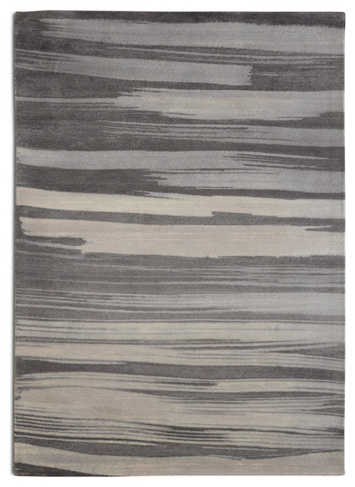 Gray Brush Stroke Contemporary Modern Area Rug, 5'x7'