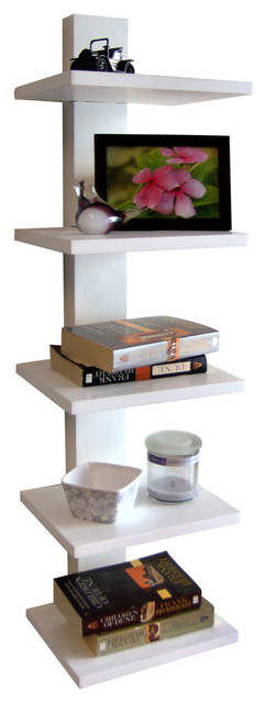 Spine Wall Book Shelf, White