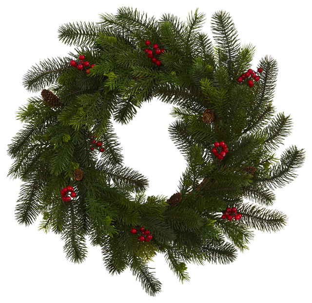 """Nearly Natural Holiday Christmas Decor 24"""" Pine And Berry Wreath."""
