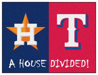 Mlb Houston Astros Texas Rangers House Divided Rugs 33
