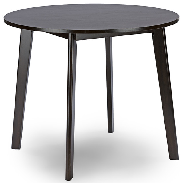 Debbie Mid-Century Dark Brown Wood Round Dining Table.