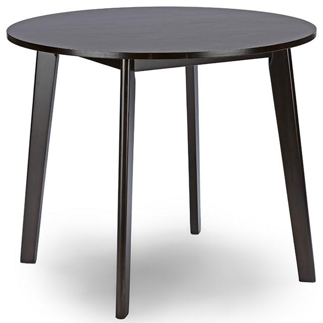 Debbie Mid-Century Dark Brown Wood Round Dining Table