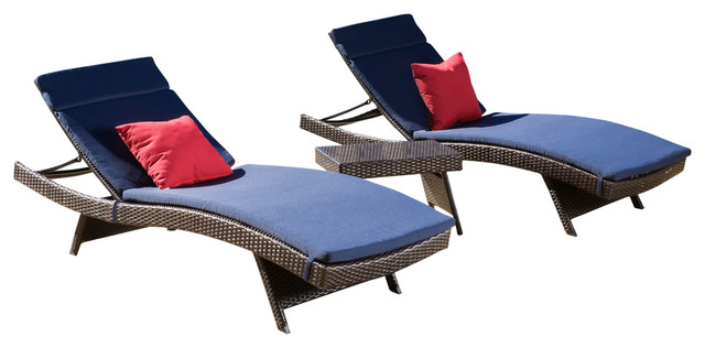Dumont Outdoor Wicker Adjustable Chaise Lounge With Cushions 3-Piece Set.