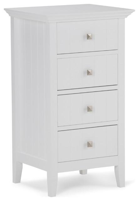Acadian 4 Drawer Floor Cabinet, White.