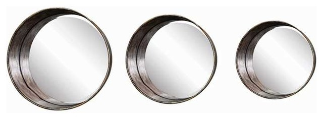 Gold Metal Wall Mirror: Distressed Gold Metal Framed Round Mirrors, Set Of 3
