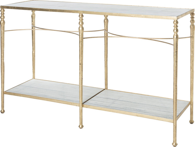 Sangallo Marble Top Console Table, Gold