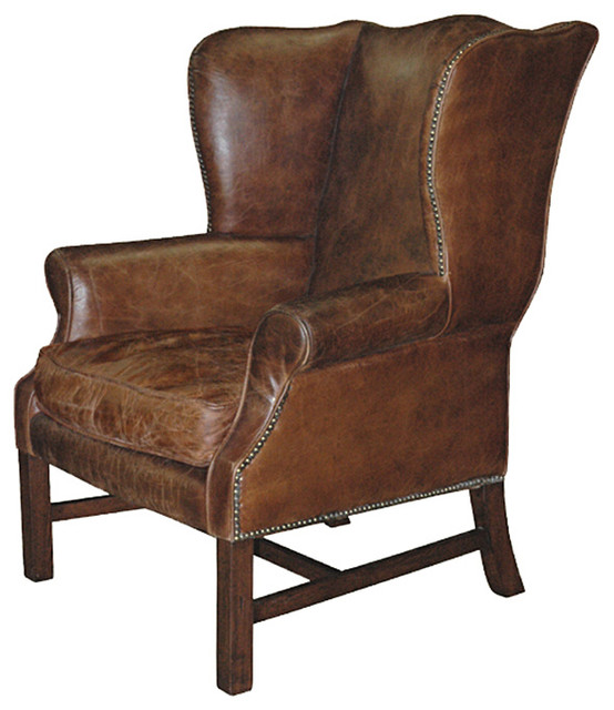 Kathy Kuo Home Gaston Rustic Lodge Aged Leather Wingback
