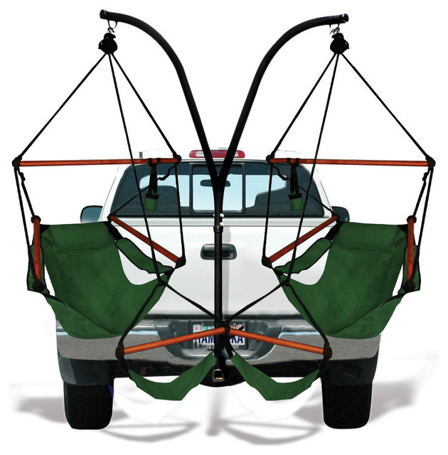 Trailer Hitch Stand With Dual Chairs, Hunter Green, Wood, Hammock Chairs.