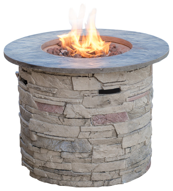 """Blomgren 32"""" Stone Circular MGO Fire Pit with Gray Top, 40,000 BTU"""