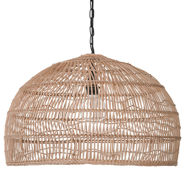 Open Weave Cane Rib Dome Pendant Lamp, Natural
