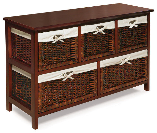 Five Basket Storage Unit Wicker Baskets Cherry