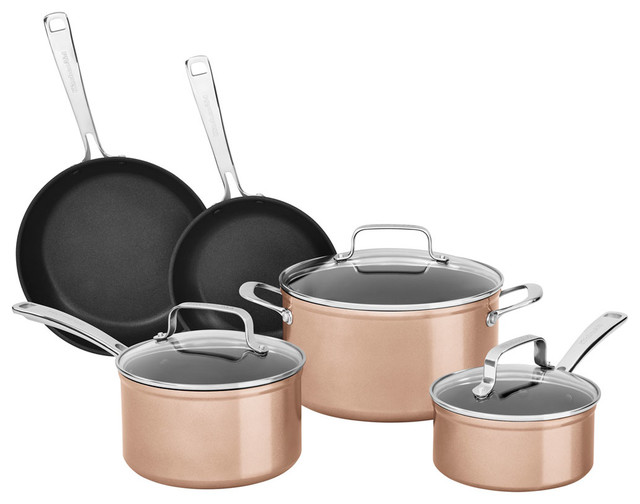 Hard Anodized Nonstick 8-Piece Cookware Set, Toffee Delight.