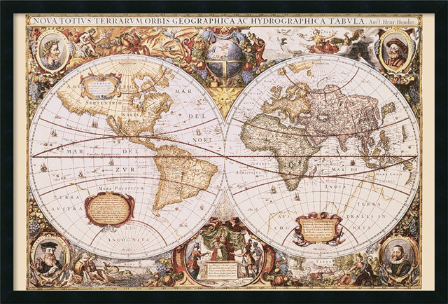 Map of the world framed with gel coated finish by henricus hondius map of the world framed with gel coated finish by henricus hondius gumiabroncs Images