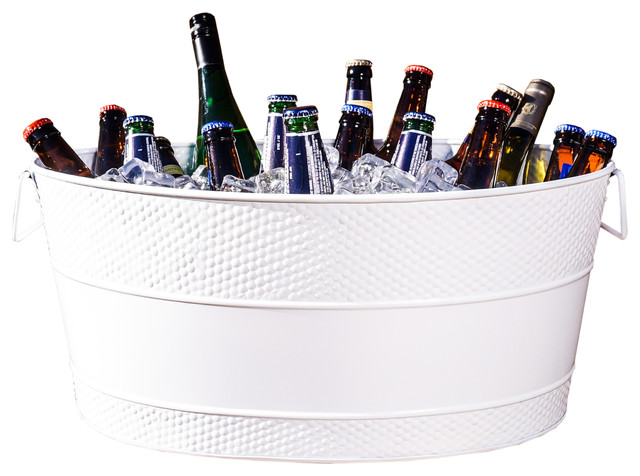 Hammered Aspen White Galvanized Beverage Tub