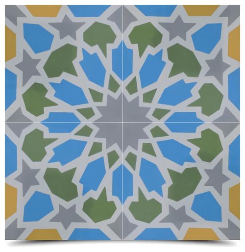 "8""x8"" Bahja Handmade Cement Tile, Multicolor, Set of 12"