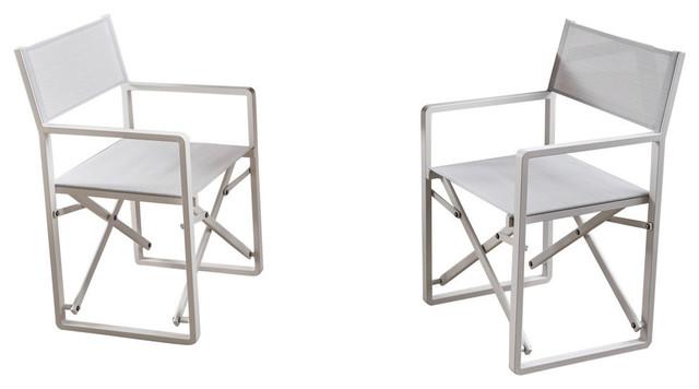 Superbe GDF Studio Finn Indoor Mesh And Aluminum Director Chairs, Set Of 2