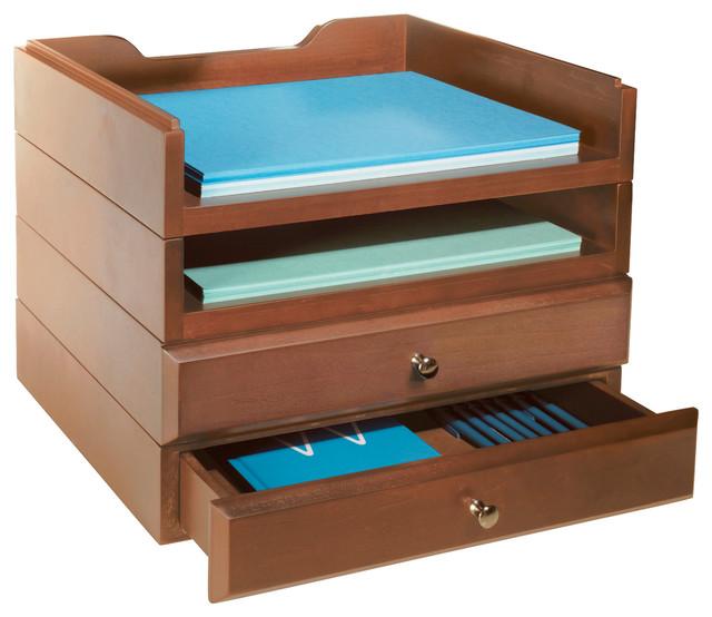 Bindertek Stacking Wood Desk Organizers 2 Tray 2 Drawer