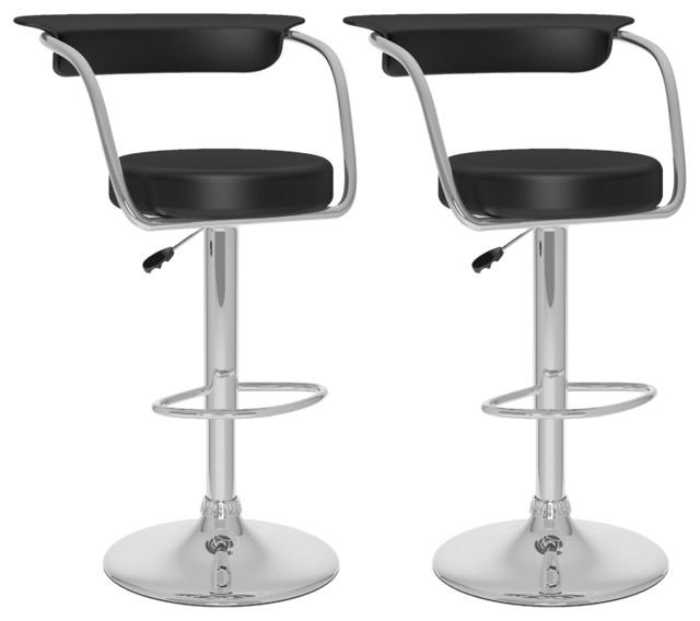Open Back Adjustable Bar Stools, Set Of 2, Black Leatherette Contemporary  Bar