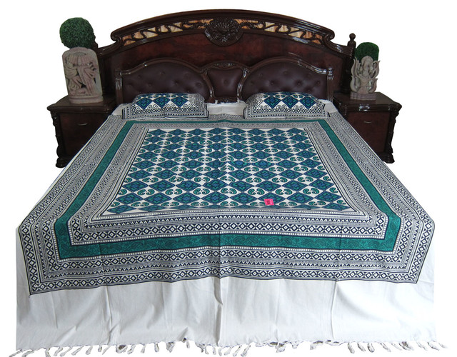 Indian Bedding Calm Blue White Cotton Bedcover Bedroom
