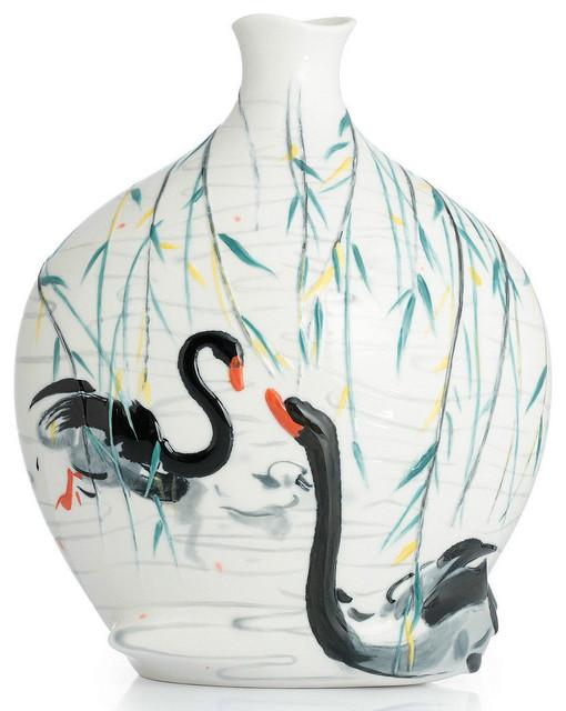 Franz Porcelain Collection Black Swans Vase Transitional Vases