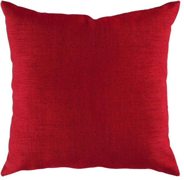 """Solid/striped Storm Decorative Pillow, Red, Poly Filler Square 18""""."""