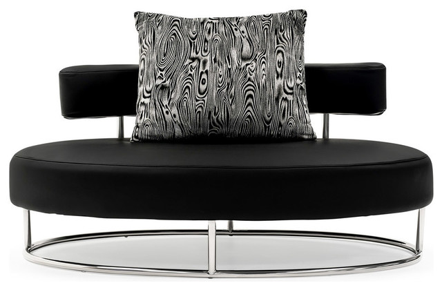 Oyster Contemporary Comfortable Lounge Chair, Black.