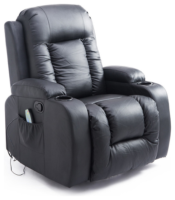 Terrific Pu Leather Heated Vibrating Massage Recliner Chair With Remote Black Ncnpc Chair Design For Home Ncnpcorg